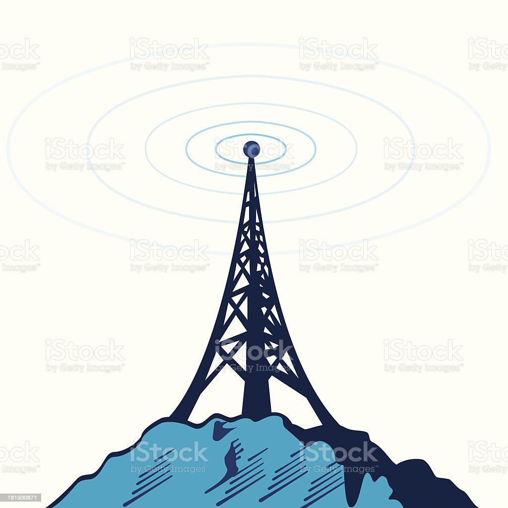 telecommunication tower vector art illustration