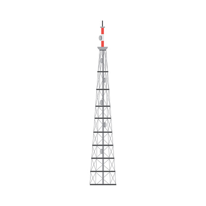 Telecommunication wireless connection tower flat vector illustration isolated.