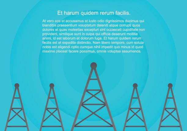 Telecommunications cellular towers in volumetric paper flat style. Data radar background. Telecommunications cellular towers in volumetric paper flat style. Data radar background repeater tower stock illustrations