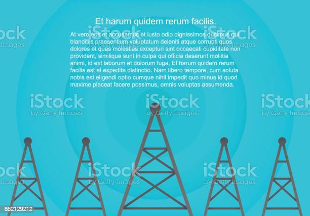 Telecommunications cellular towers in volumetric paper flat style. Data radar background. Telecommunications cellular towers in volumetric paper flat style. Data radar background Aerial View stock vector