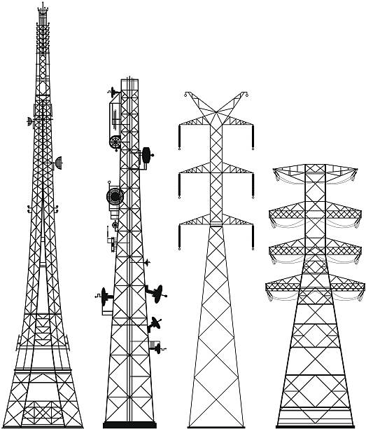 Telecommunications Towers Telephone and electricity towers. communications tower stock illustrations