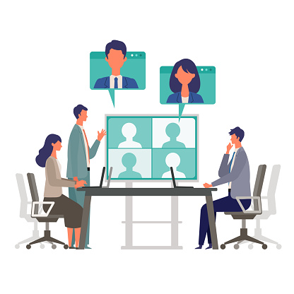 Telecommuting concept. Vector illustration of people having communication via telecommuting system. Concept for video conference, workers at home.