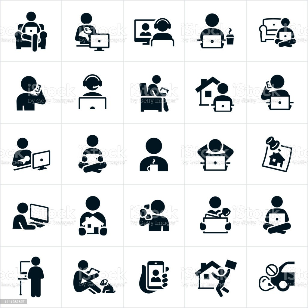 Teletrabajo iconos - arte vectorial de Adulto libre de derechos