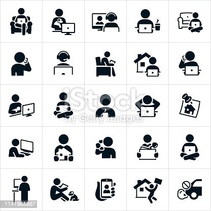 An icon set of people working from home or telecommuting. The icons show several different people working while at home sitting on a couch, while holding a family dog, on a teleconference, working at a computer, talking on the phone, while sitting in a chair, while holding a newborn baby, and sitting and working on the floor among others.