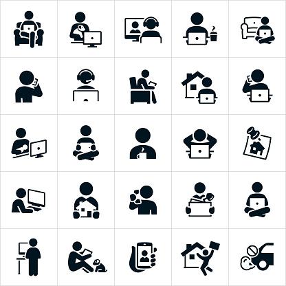 Ilustración de Teletrabajo Iconos y más Vectores Libres de Derechos de Adulto