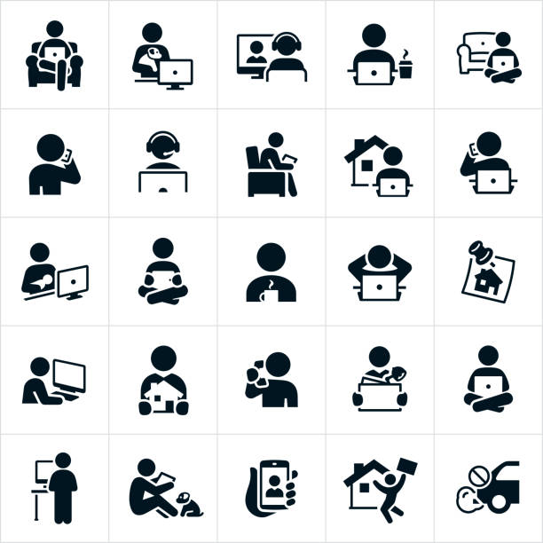 telecommuting icons - working from home stock illustrations