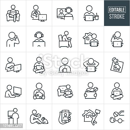 A set of telecommuting icons that include editable strokes or outlines using the EPS vector file. The icons include many different people working from home. They include a person working from home while sitting in a chair, person holding puppy while working on computer, person seated at computer with headset on, person at laptop with a cup of coffee, business person talking on mobile phone, business person on laptop with house in background, mother holding newborn while working at computer, person working on computer while standing at a standing desk, people using computers and mobile phone technology to work from home and other related icons.