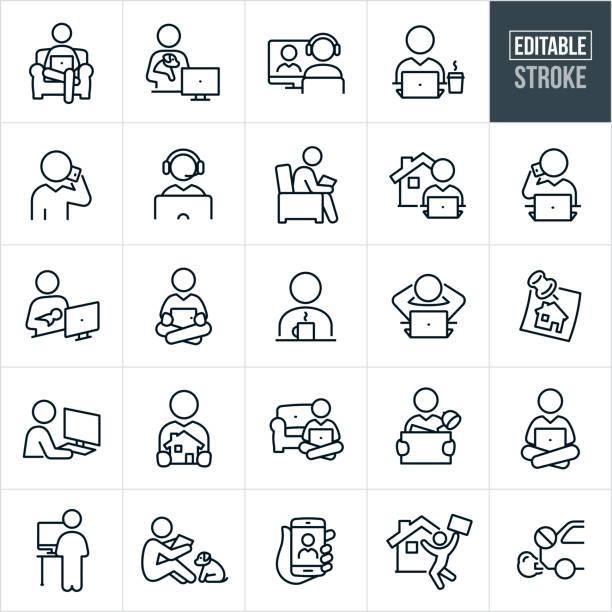 ilustrações de stock, clip art, desenhos animados e ícones de telecommuting thin line icons - editable stroke - teletrabalho