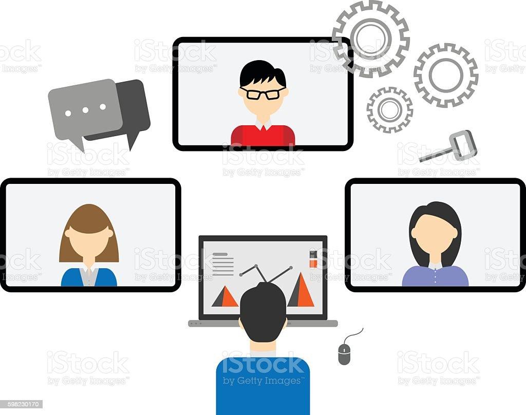 Teleconferência ilustração de teleconferência e mais banco de imagens de adulto royalty-free