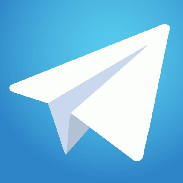 Telegram messenger icon. White paper plane on blue background. Vector illustration. EPS 10 Telegram messenger icon. White paper plane on blue background. Vector illustration. EPS 10. telegram stock illustrations