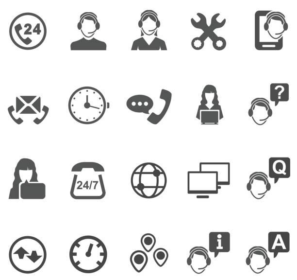 illustrations, cliparts, dessins animés et icônes de icônes de télévendeur - centre d'appels