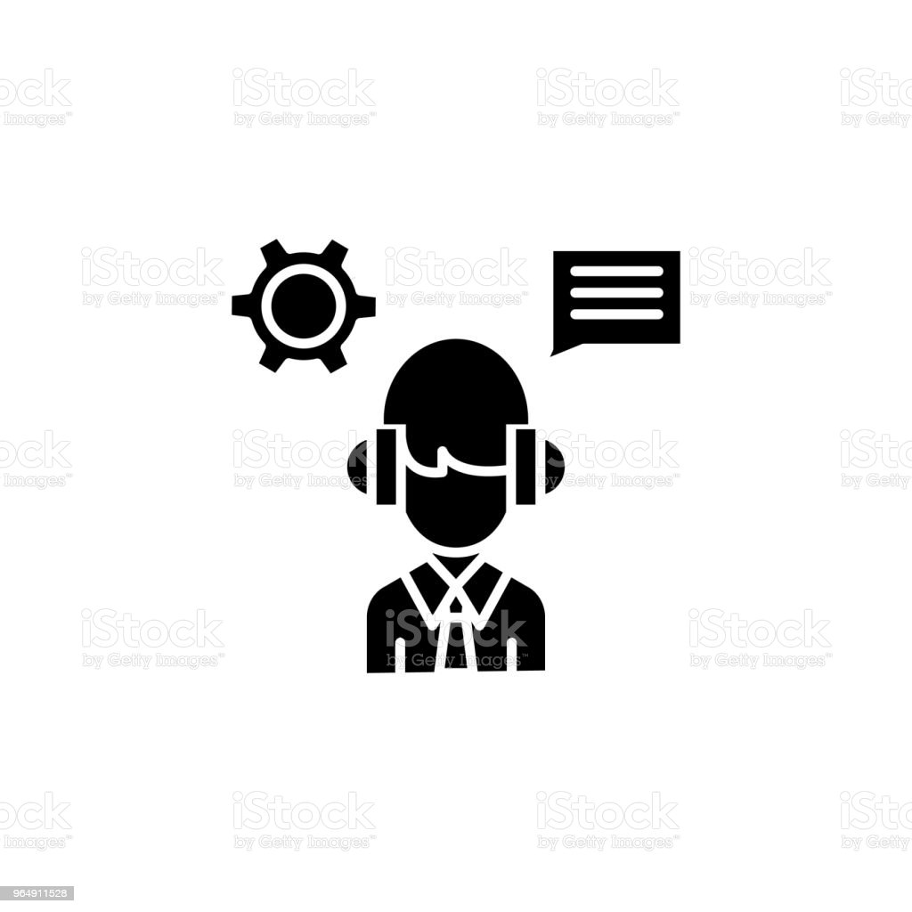 Telemarketing black icon concept. Telemarketing flat  vector symbol, sign, illustration. - Royalty-free Adult stock vector