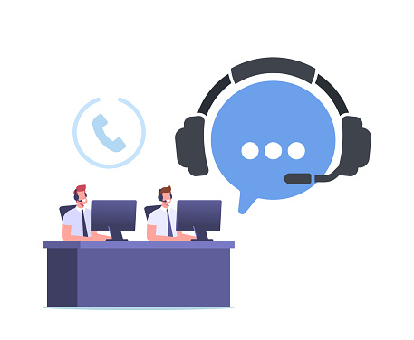Telemarketing Call Operator Characters Hotline Communication, Consultation. Technical Support Specialist Sit at Computer
