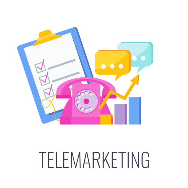 illustrazioni stock, clip art, cartoni animati e icone di tendenza di telemarketing flat vector icon. cold calling. outbound marketing. - shifts call centre