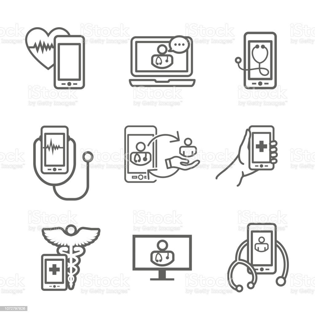 Telemedicine Abstract Idea With Icons Illustrating Remote Health And