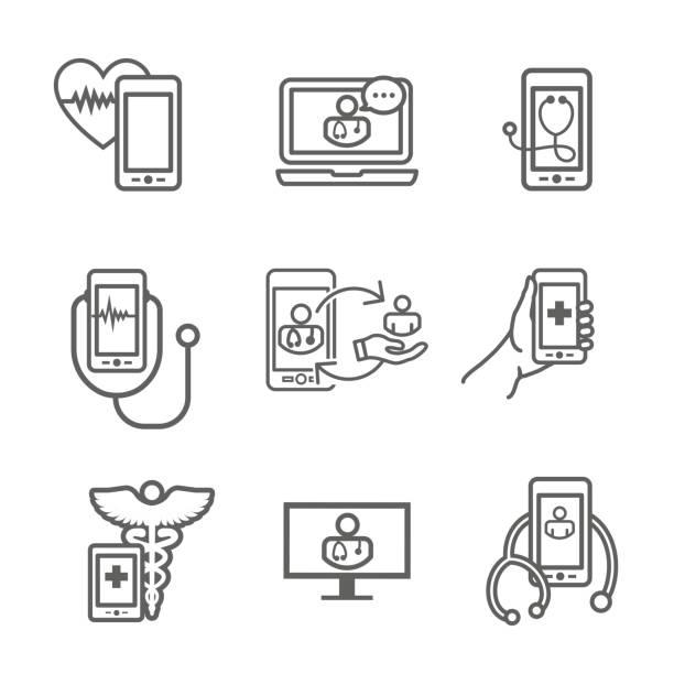 ilustraciones, imágenes clip art, dibujos animados e iconos de stock de idea abstracta de telemedicina con iconos sobre software y salud distancia - telehealth