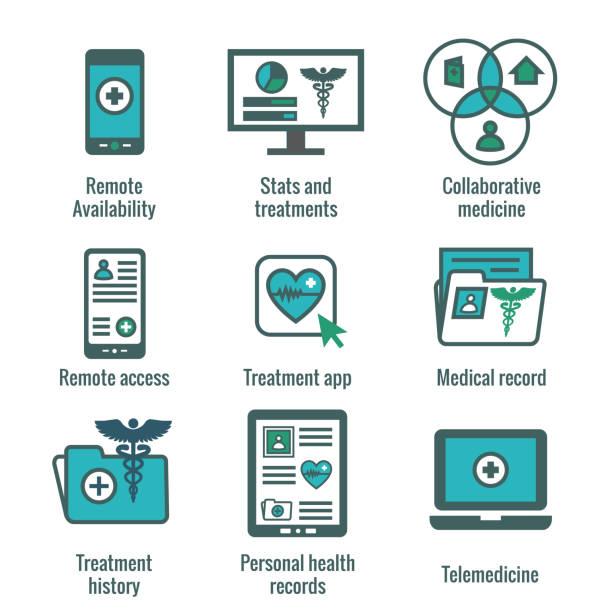ilustraciones, imágenes clip art, dibujos animados e iconos de stock de telemedicina y salud registros icon set con caduceo, archivadores, ordenadores, etcetera - telehealth
