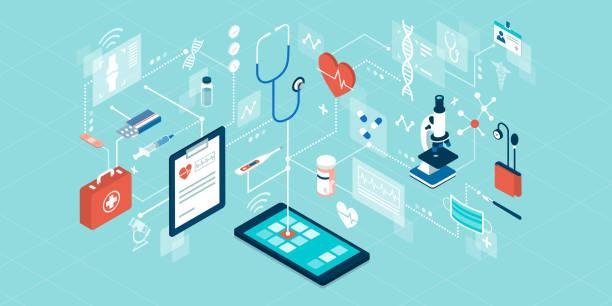 ilustraciones, imágenes clip art, dibujos animados e iconos de stock de servicios de telemedicina y atención sanitaria en línea - telehealth