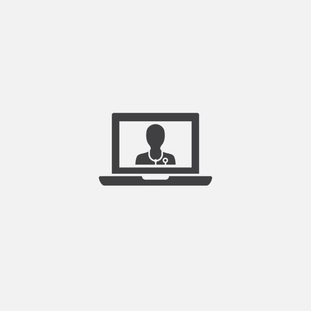 ilustraciones, imágenes clip art, dibujos animados e iconos de stock de icono de la base de la telemedicina. ilustración de signo simple. diseño de símbolos de telemedicina. se puede utilizar para web, impresión y móvil - telehealth