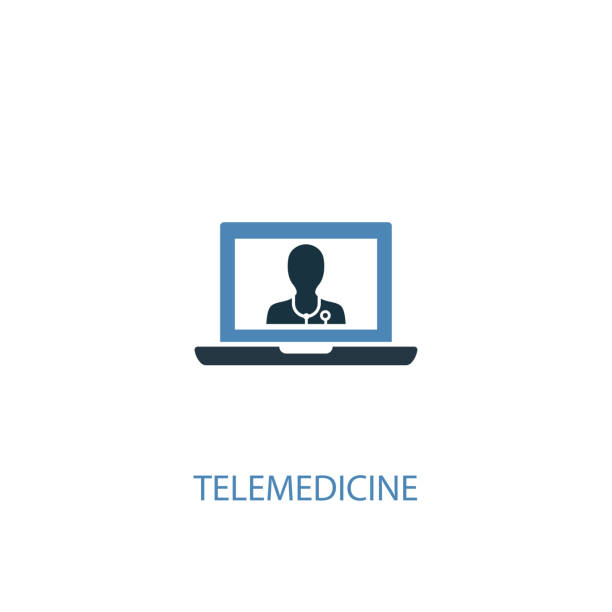 telemedicine concept 2 colored icon. simple blue element illustration. telemedicine concept symbol design. can be used for web and mobile ui/ux - telemedicine stock illustrations