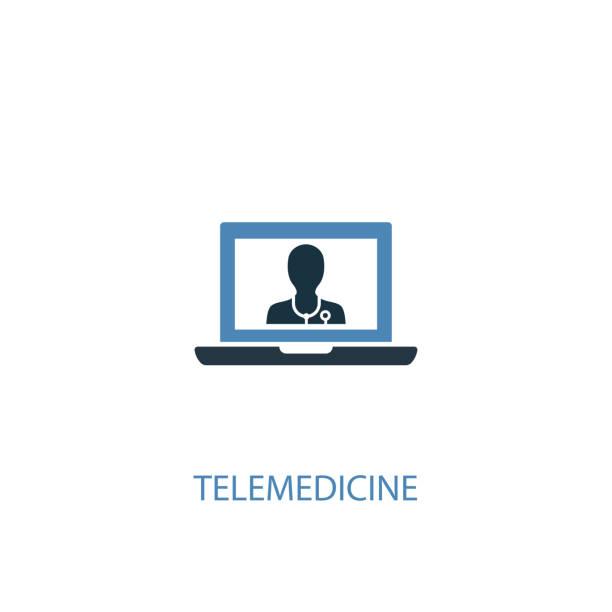 ilustraciones, imágenes clip art, dibujos animados e iconos de stock de concepto de telemedicina 2 icono de color. ilustración simple de elemento azul. diseño de símbolos de concepto de telemedicina. se puede utilizar para la interfaz de usuario/ux web y móvil - telehealth
