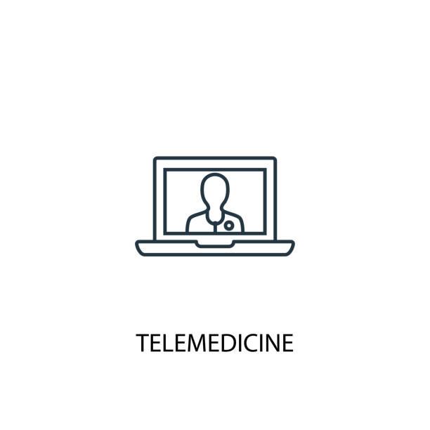 ilustraciones, imágenes clip art, dibujos animados e iconos de stock de icono de línea de concepto de telemedicina. ilustración de elemento simple. diseño de símbolo de esquema de telemedicina. se puede utilizar para la interfaz de usuario/ux web y móvil - telehealth