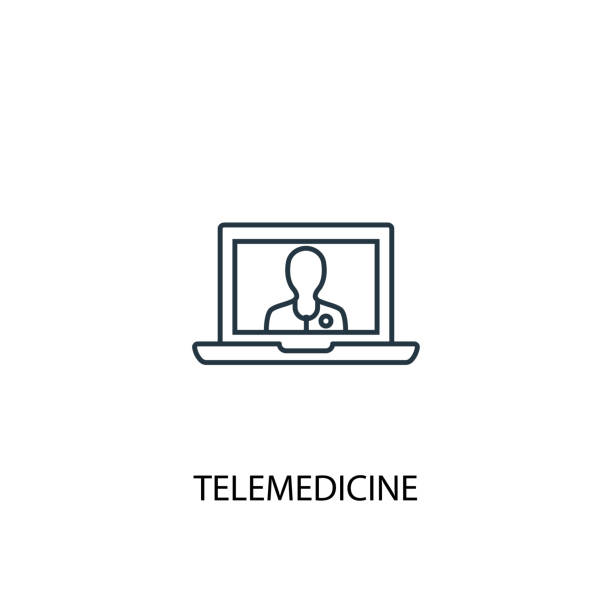 telemedicine concept line icon. simple element illustration. telemedicine concept outline symbol design. can be used for web and mobile ui/ux - telemedicine stock illustrations