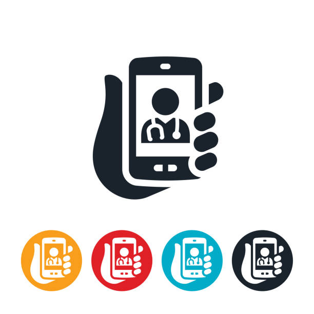 ilustraciones, imágenes clip art, dibujos animados e iconos de stock de telemedicina desde icono de smartphone - telehealth