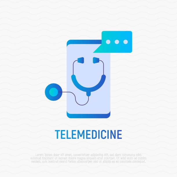 ilustraciones, imágenes clip art, dibujos animados e iconos de stock de icono plano degradado de telemedicina: estetoscopio con burbuja de voz en la pantalla del teléfono inteligente. ilustración vectorial moderna de consultor médico en línea. - telehealth