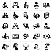 A set of telemedicine icons. The icons show several patient and doctor checkups via smartphone, computer monitor and other technology screens. The icons include injuries, face-to-face meeting with physicians, heart rate monitor, wearable technology, online chat, teleconferencing and other forms of technology making Telehealth possible.
