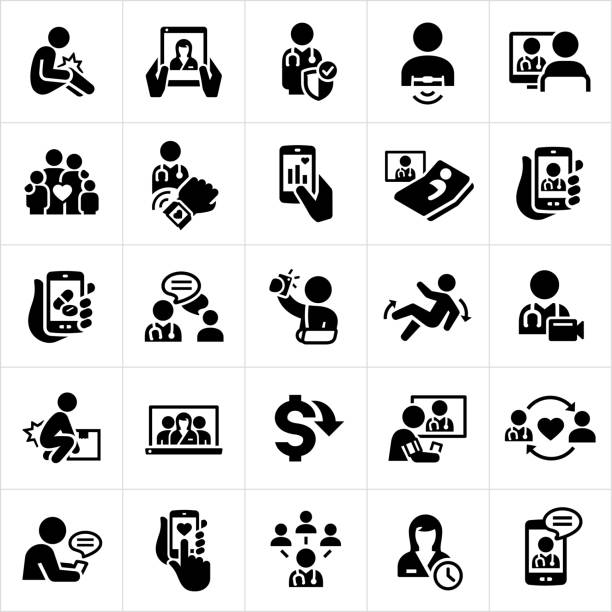 Telemedicine Icons A set of telemedicine icons. The icons show several patient and doctor checkups via smartphone, computer monitor and other technology screens. The icons include injuries, face-to-face meeting with physicians, heart rate monitor, wearable technology, online chat, teleconferencing and other forms of technology making Telehealth possible. doctor and patient stock illustrations