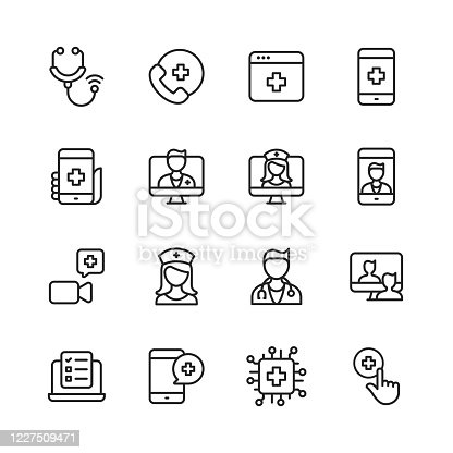 16 Telemedicine Outline Icons. Stethoscope, Telemedicine, Digital Healthcare, Healthcare Application, Calling Hospital, Video Call with Doctor, Online Consultation, Video Calling a Doctor, Nurse, Doctor, Man Describes Symptoms using Telemedicine, Checklist, Artificial Intelligence in Healthcare.