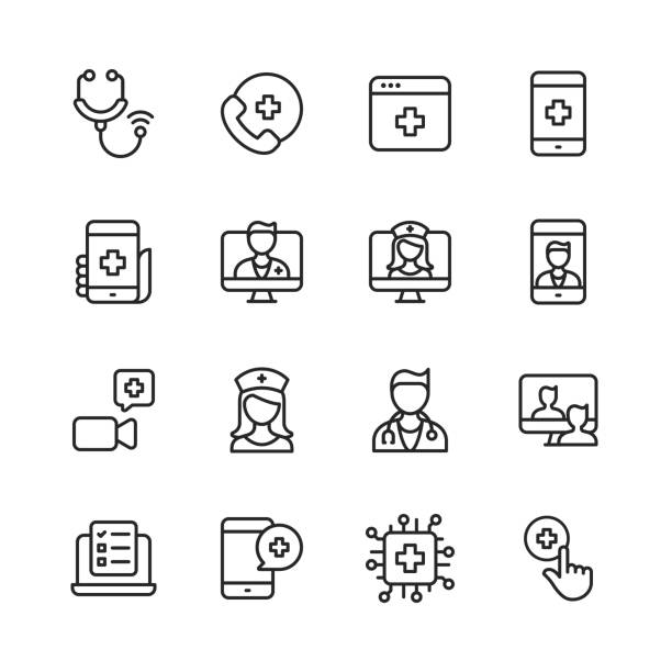 Telemedicine Line Icons. Editable Stroke. Pixel Perfect. For Mobile and Web. Contains such icons as Stethoscope, Telemedicine, Digital Healthcare, Video Call with Doctor, Online Consultation, Nurse, Doctor, Artificial Intelligence in Healthcare. 16 Telemedicine Outline Icons. Stethoscope, Telemedicine, Digital Healthcare, Healthcare Application, Calling Hospital, Video Call with Doctor, Online Consultation, Video Calling a Doctor, Nurse, Doctor, Man Describes Symptoms using Telemedicine, Checklist, Artificial Intelligence in Healthcare. medical stock illustrations