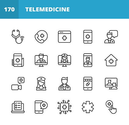 Telemedicine Line Icons. Editable Stroke. Pixel Perfect. For Mobile and Web. Contains such icons as Stethoscope, Telemedicine, Digital Healthcare, Video Call with Doctor, Online Consultation, Nurse, Doctor, Artificial Intelligence in Healthcare.