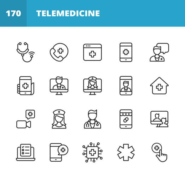 ilustraciones, imágenes clip art, dibujos animados e iconos de stock de iconos de línea de telemedicina. trazo editable. pixel perfecto. para móviles y web. contiene iconos tales como estetoscopio, telemedicina, atención sanitaria digital, videollamada con médico, consulta en línea, enfermera, médico, inteligencia artifi - telehealth
