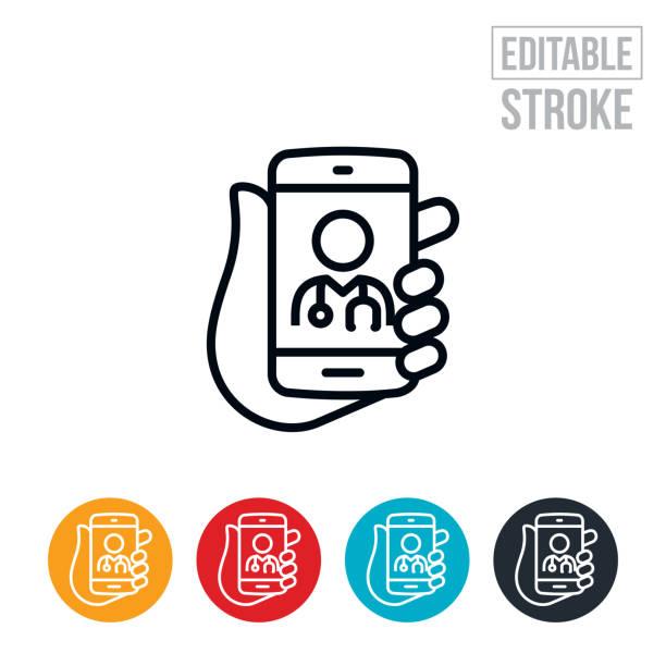 ilustraciones, imágenes clip art, dibujos animados e iconos de stock de telemedicina en smartphone icono de línea fina - trazo editable - telehealth