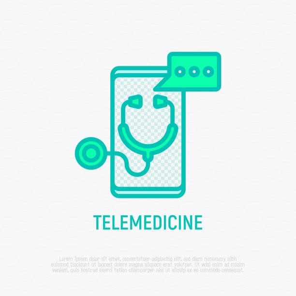 ilustraciones, imágenes clip art, dibujos animados e iconos de stock de icono de la delgada línea de telemedicina: estetoscopio con bocadillo de diálogo en la pantalla del smartphone. ilustración de vector moderno de asesor médico en línea. - telehealth