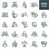 A set of telemedicine icons that include editable strokes or outlines using the EPS vector file. The icons include several different telemedicine interactions between patients and doctors. They include a smartphone being held by a patient while talking face to face with his physician, a patient using a tablet PC to talk with his doctor, doctor, physician, patient, doctor on computer screen with patient on the other side of the screen, female doctor on laptop screen, medical monitoring using a smartphone, patient sick in bed while receiving medical care from virtual physician on screen, patient with cold or flu sneezing into tissue while using telemedicine on laptop, patient with hurt knee, doctor using internet chat to communicate with patient, patient with hurt arm using smartphone to send picture to physician, security, doctor using tablet pc to communicate with patient, person hurting back while lifting box, patient coughing while talking to doctor via smartphone, family of four, patient using Telehealth from chair at home and other related icons.