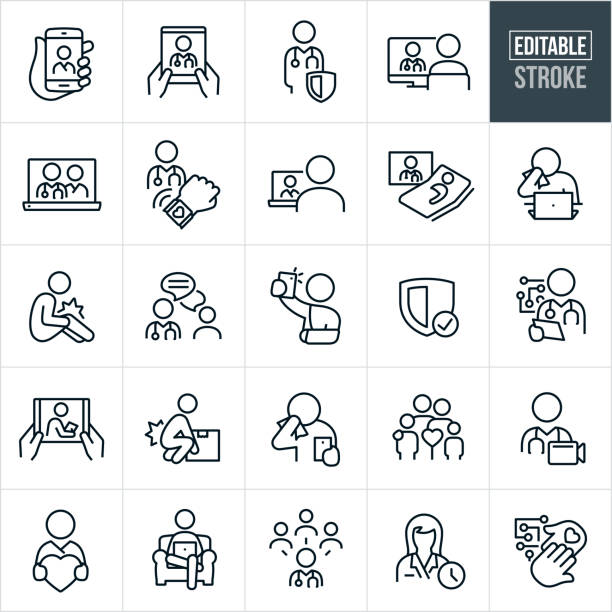 Telemedicine Thin Line Icons - Editable Stroke A set of telemedicine icons that include editable strokes or outlines using the EPS vector file. The icons include several different telemedicine interactions between patients and doctors. They include a smartphone being held by a patient while talking face to face with his physician, a patient using a tablet PC to talk with his doctor, doctor, physician, patient, doctor on computer screen with patient on the other side of the screen, female doctor on laptop screen, medical monitoring using a smartphone, patient sick in bed while receiving medical care from virtual physician on screen, patient with cold or flu sneezing into tissue while using telemedicine on laptop, patient with hurt knee, doctor using internet chat to communicate with patient, patient with hurt arm using smartphone to send picture to physician, security, doctor using tablet pc to communicate with patient, person hurting back while lifting box, patient coughing while talking to doctor via smartphone, family of four, patient using Telehealth from chair at home and other related icons. doctor and patient stock illustrations