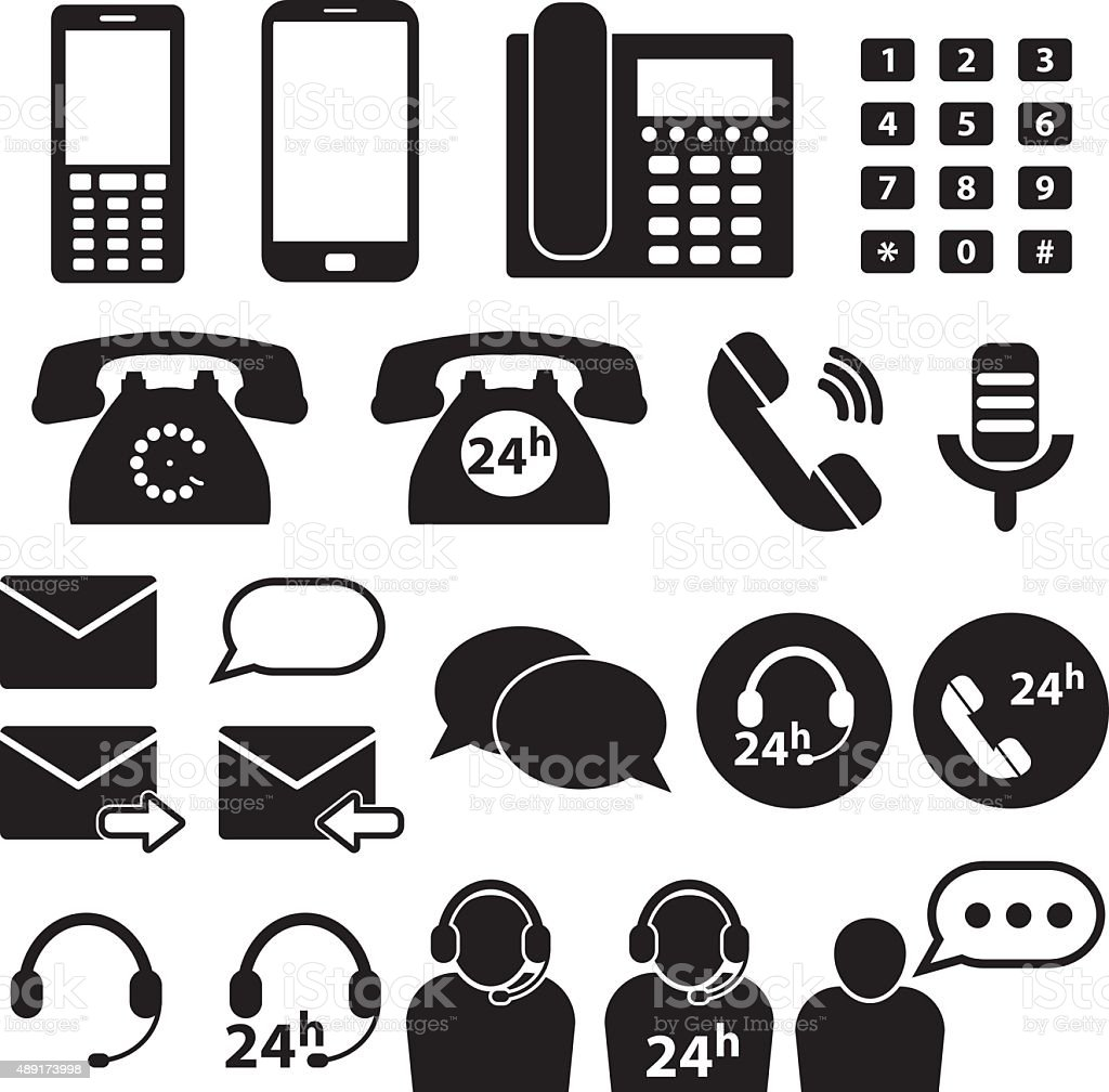 Telephone and Communication Icons vector art illustration