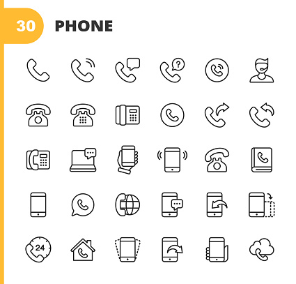 Telephone and Communication Line Icons. Editable Stroke. Pixel Perfect. For Mobile and Web. Contains such icons as Telephone, Support, Smartphone, Digital Display, Communication, Global Business, Phone, Digital Screen, Remote Work, Address Book.