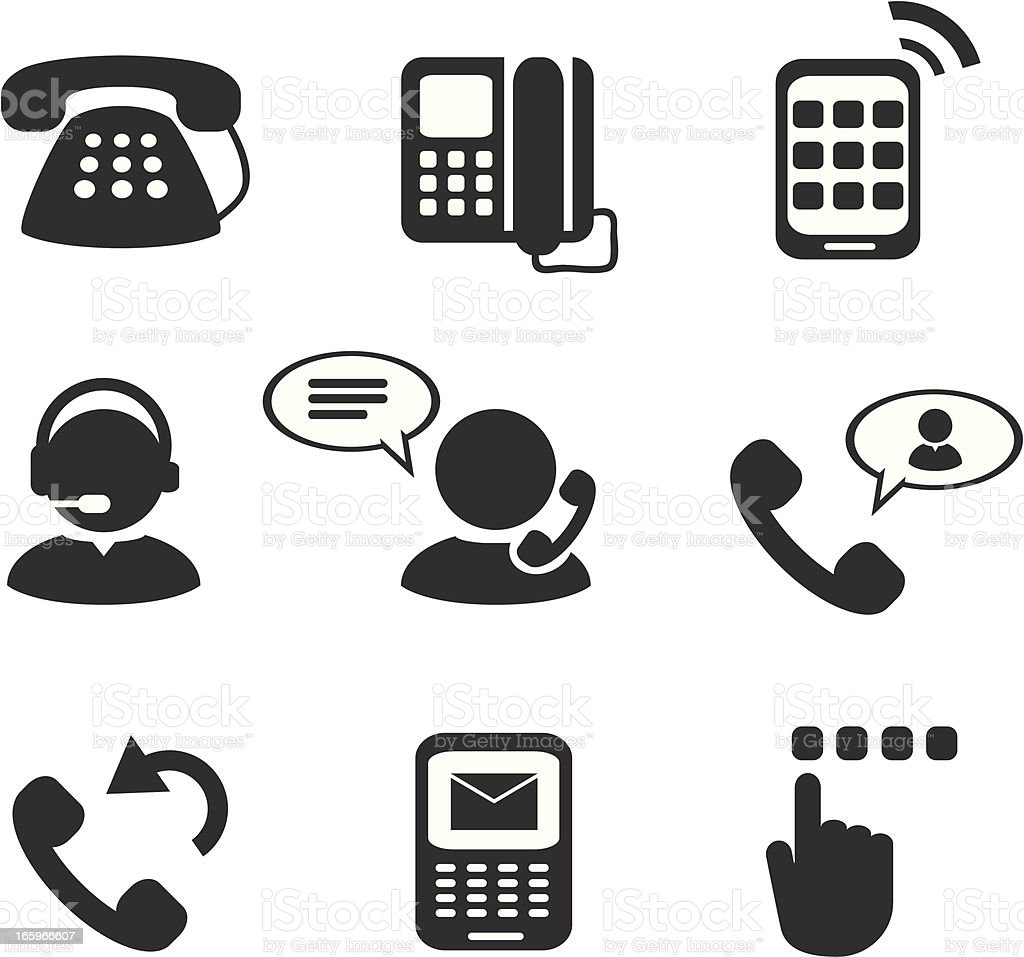 Telephone And Mobile Phone Icons royalty-free stock vector art