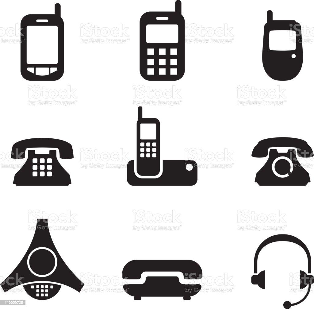 Telefono bianco e nero set icone vettoriali royaltyfree for Immagini vector