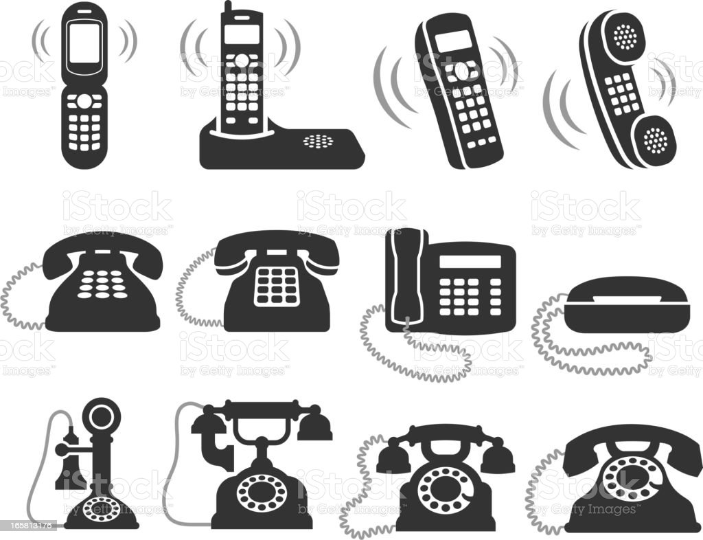 telephone black and white royalty free vector icon set vector art illustration