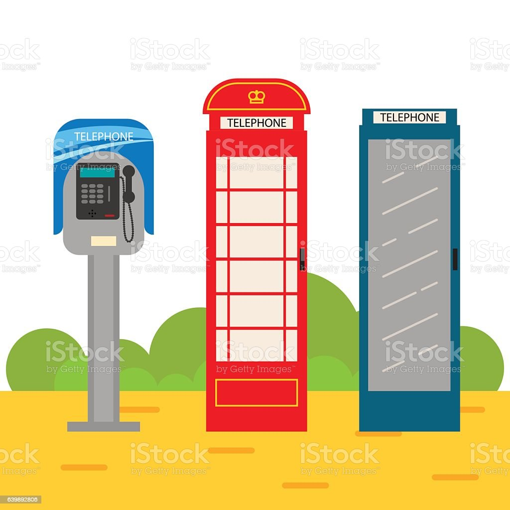 Telephone booth cartoon set. vector art illustration