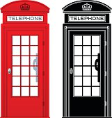 Red telephone booth and black silhouette telephone booth concepts. EPS 10 file. Transparency effects used on highlight elements.
