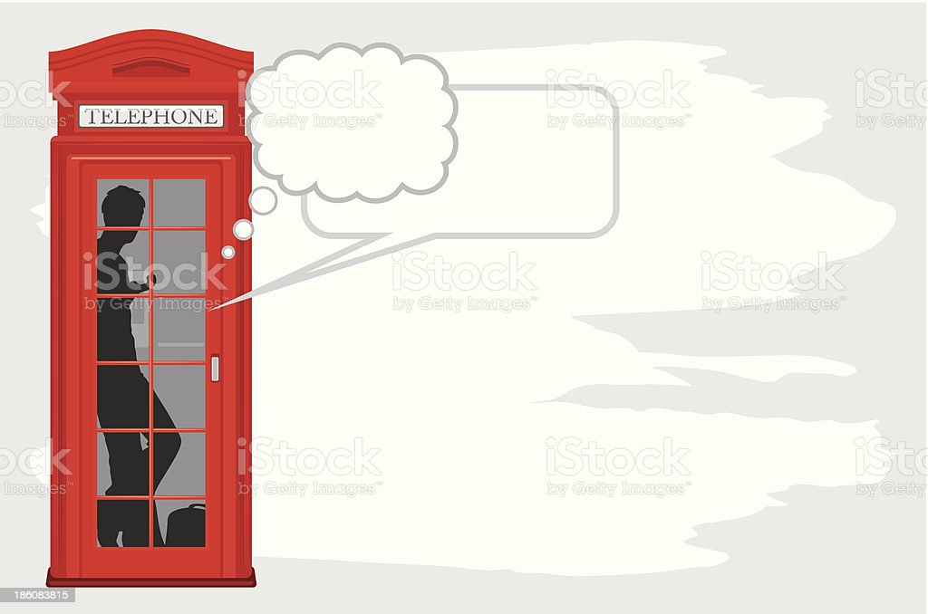 Telephone box isolated on the abstract background vector art illustration