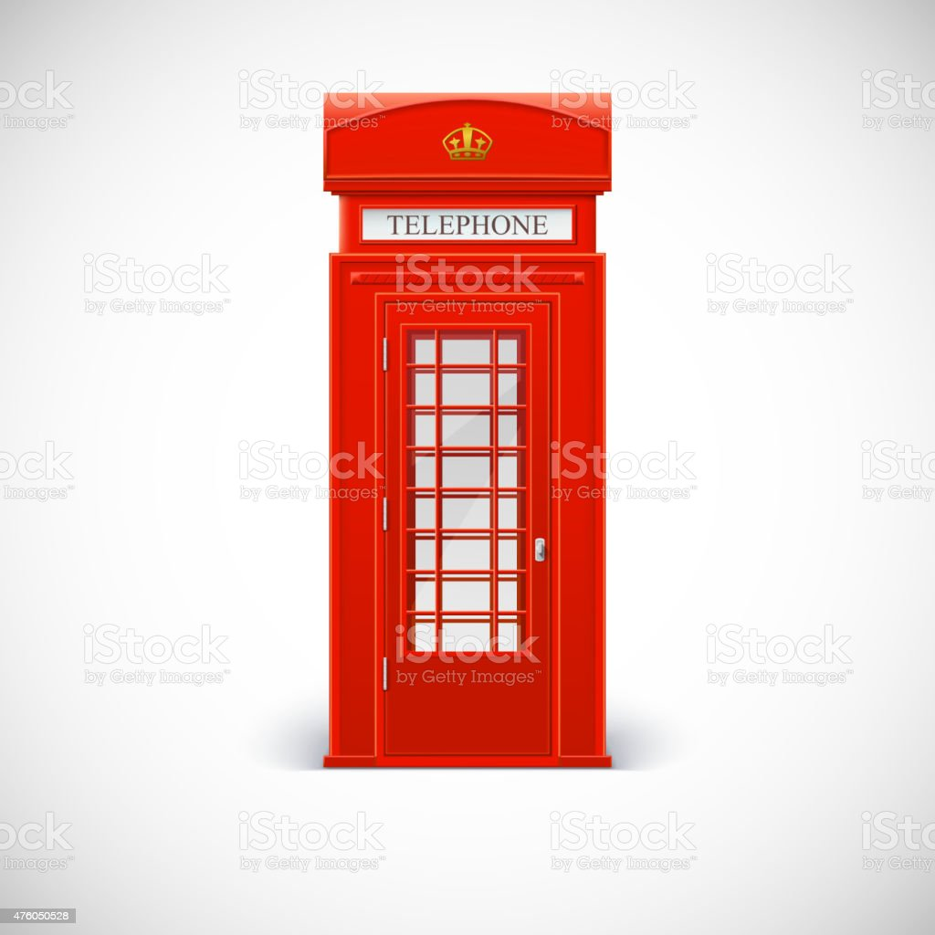 Telephone box, Londone style. vector art illustration