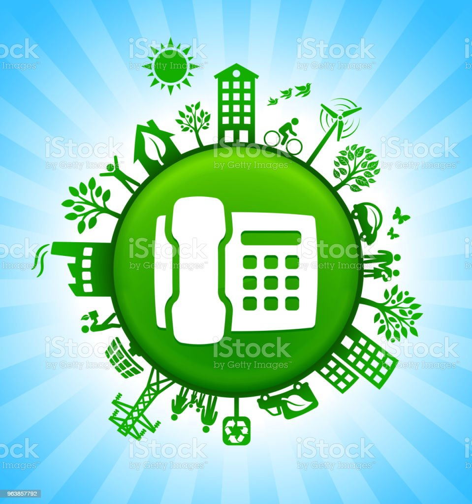 Telephone Environment Green Button Background on Blue Sky - Royalty-free Alternative Energy stock vector