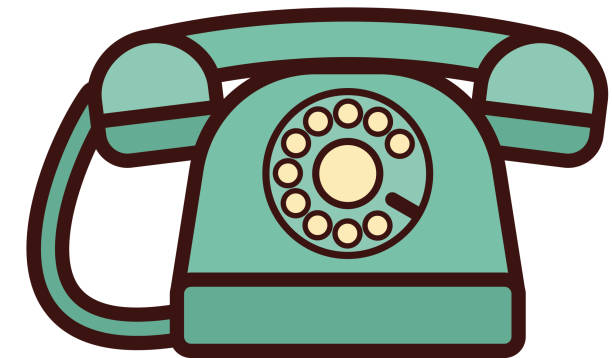 Telephone icon in flat retro design. Vector illustration. Retro style. vector art illustration